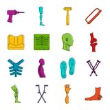 Orthopedics prosthetics icons doodle set Stock Photography