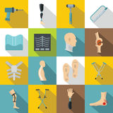 Orthopedics prosthetics icons set, flat style Royalty Free Stock Image