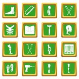 Orthopedics prosthetics icons set green Royalty Free Stock Photography