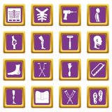 Orthopedics prosthetics icons set purple Stock Photography
