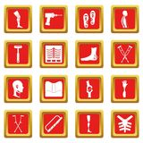 Orthopedics prosthetics icons set red Stock Image