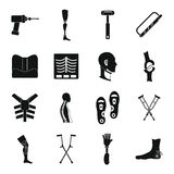 Orthopedics prosthetics icons set, simple style Royalty Free Stock Photos