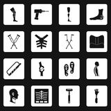 Orthopedics prosthetics icons set squares vector Stock Photography