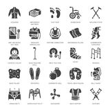 Orthopedics, trauma rehabilitation glyph icons. Crutches, mattress pillow, cervical collar, walkers, medical rehab goods. Health care signs for clinic royalty free illustration
