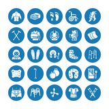 Orthopedics, trauma rehabilitation glyph icons. Crutches, mattress pillow, cervical collar, walkers, medical rehab goods. Health care signs for clinic stock illustration