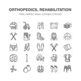 Orthopedics, trauma rehabilitation line icons. Crutches, mattress pillow, cervical collar, walkers, medical rehab goods. Health care thin linear signs for Stock Photos