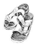Orthopedische pantoffels getrokken inkt Royalty-vrije Stock Afbeeldingen