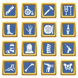 Orthopedist bone tools icons set blue square vector. Orthopedist bone tools icons set vector blue square isolated on white background Stock Images