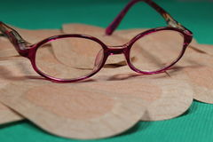 Orthoptic Eye Patch for occlusion therapy with child´s glasses Royalty Free Stock Photos