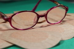 Orthoptic Eye Patch for occlusion therapy with child´s glasses. Stock Photo