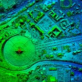 Orthorectified de alta resolución, mapa aéreo de Orthorectification usado para la fotogrametría fotografía de archivo libre de regalías