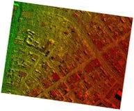 Orthorectified de alta resolución, mapa aéreo de Orthorectification usado para la fotogrametría foto de archivo libre de regalías
