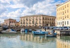 Ortigia,西勒鸠斯西西里岛,意大利 免版税库存照片