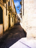 Ortigia Alley, Syracuse, Sicily, Italy - Painting effect Royalty Free Stock Photography