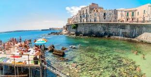 Ortigia and Mediterranean sea in Syracuse, Sicily, Italy Stock Image