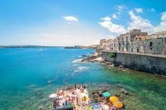 Ortigia and Mediterranean sea in Syracuse, Sicily, Italy Stock Images