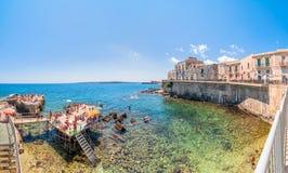 Ortigia and Mediterranean sea in Syracuse, Sicily, Italy Royalty Free Stock Photo