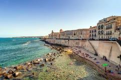 Ortigia and Mediterranean sea in Syracuse, Sicily, Italy Stock Photos