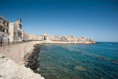 Ortigia waterfront - Mediterranean Sea Stock Photo