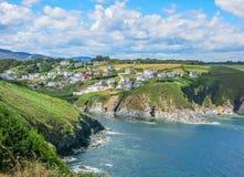 Ortiguera, mała wioska blisko San Augustin przylądka, Asturias, północny Hiszpania fotografia royalty free