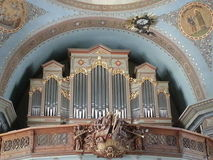 Ortisei Cathedral monumental organ Royalty Free Stock Image
