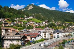 ORTISEI, ITALY - JULY 18, 2018: Panoramic view of Ortisei city in the summer season stock photography