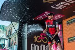 Ortisei, Italy May 25, 2017: Tejay van Garderen, Bmc Team, celebrates on the podium his victory. Of the day at Tour of Italy 2017 Stock Photos