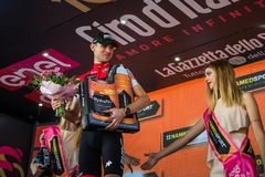 Ortisei, Italy May 25, 2017: Tejay van Garderen, Bmc Team, celebrates on the podium his victory. Of the day at Tour of Italy 2017 Royalty Free Stock Photos