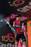 Ortisei, Italy May 25, 2017: Tejay van Garderen, Bmc Team, celebrates on the podium his victory. Of the day at Tour of Italy 2017 Royalty Free Stock Image