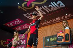 Ortisei, Italy May 25, 2017: Tejay van Garderen, Bmc Team, celebrates on the podium his victory. Of the day at Tour of Italy 2017 Royalty Free Stock Images