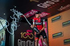 Ortisei, Italy May 25, 2017: Tejay van Garderen, Bmc Team, celebrates on the podium his victory. Of the day at Tour of Italy 2017 Stock Image