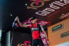 Ortisei, Italy May 25, 2017: Tejay van Garderen, Bmc Team, celebrates on the podium his victory. Of the day at Tour of Italy 2017 Royalty Free Stock Photography