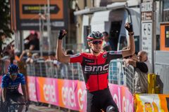 Ortisei, Italy May 25, 2017: Tejay van Garderen, Bmc Team, wins the mountain stage of Tour of Italy 2017. With arrival in Ortisei Royalty Free Stock Image