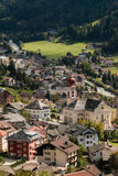 Ortisei in South Tyrol. Aerial view of Ortisei in South Tyrol, Italy stock photo