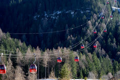 ORTISEI, TRENTINO/ITALY - MARCH 26 : Cable Car near Ortisei in V. Al Gardena in Italy on March 26, 2016 Stock Photo