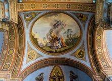 ORTISEI, TRENTINO/ITALY - MARZEC 26: Wewnętrzny widok parafia zdjęcie stock