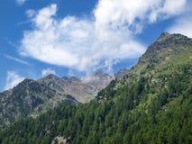 Ortler Alps mountain range at Lake Fontana Bianca in Ulten Valley, Stelvio National Park, Italy royalty free stock photos