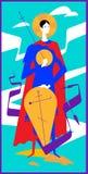 Ortodoksalna ikona St George niebieski obraz nieba tęczową chmura wektora Ilustracja Chrześcijańska ikona dla druku Nowożytny iko ilustracja wektor