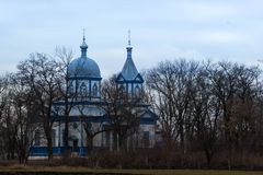 Ortodoksalny błękitny kościół w Skorikovka, Ukraina Zdjęcia Royalty Free
