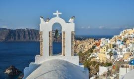 Ortodoksalny kościół na Santorini wyspie obrazy stock