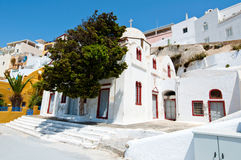 Ortodoksalny kościół w kapitale także znać jako Santorini Thera, Fira w Grecja Zdjęcia Royalty Free