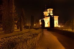 Ortodoksalny monaster nocą Fotografia Royalty Free