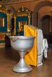 Ortodoksalny ochrzczenie puchar święta woda i świeczki Zdjęcia Stock