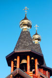 Ortodoksalny rosjanin i Ukraiński drewniany kościół w Kharkov fotografia royalty free