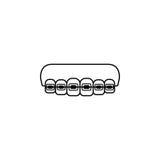 Ortodontycznych brasów kreskowa ikona Fotografia Royalty Free