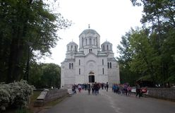 Ortodox church in Serbia. Many believers outside the church Stock Photo