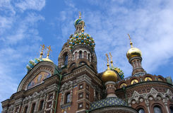 Ortodox church in St.Petersburg. On cloudy blue sky Royalty Free Stock Photo