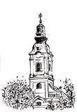 Ortodox church tower. Black and white illustration of Ortodox church tower in Padej Serbia Stock Photography