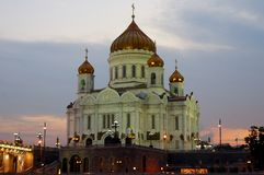 Ortodox domkyrka av Kristus frälsarenattMoskva Ryssland Fotografering för Bildbyråer