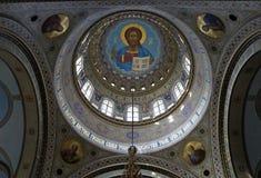 Ortodox domkyrka i Riga, inregarnering, inre kupol Arkivbilder